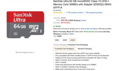 Memorias microSD SanDisk de 16, 32, 64 GB de oferta en Amazon