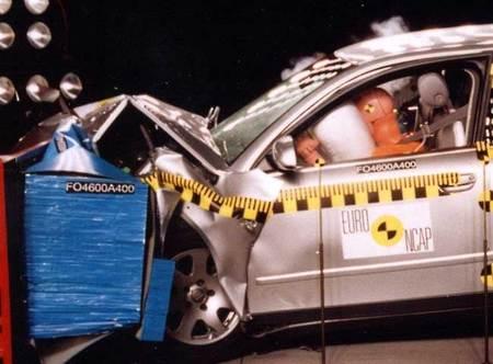 Prueba de choque frontal EuroNCAP del Audi A4 en 2001.