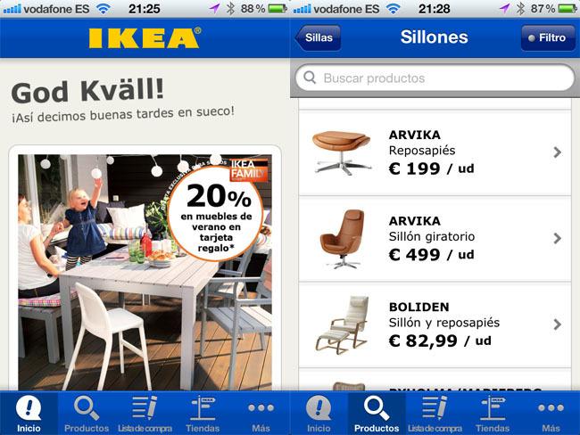 Pantallazo aplicación de iKEA