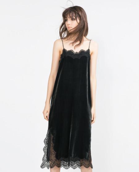 Vestido Lencero Terciopelo Zara