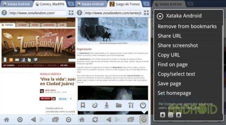 xScope: barra y porcentaje de progreso, menú transparente, opciones de página