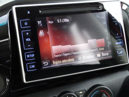Pantalla central Prueba Toyota Hilux Detalles