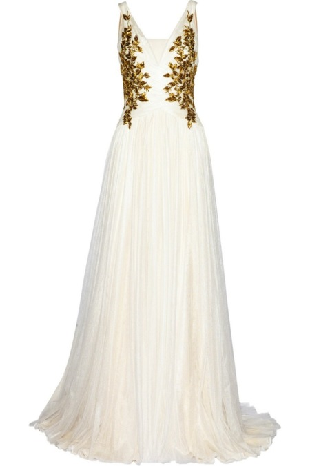 Vestidos de novia en blanco y dorado