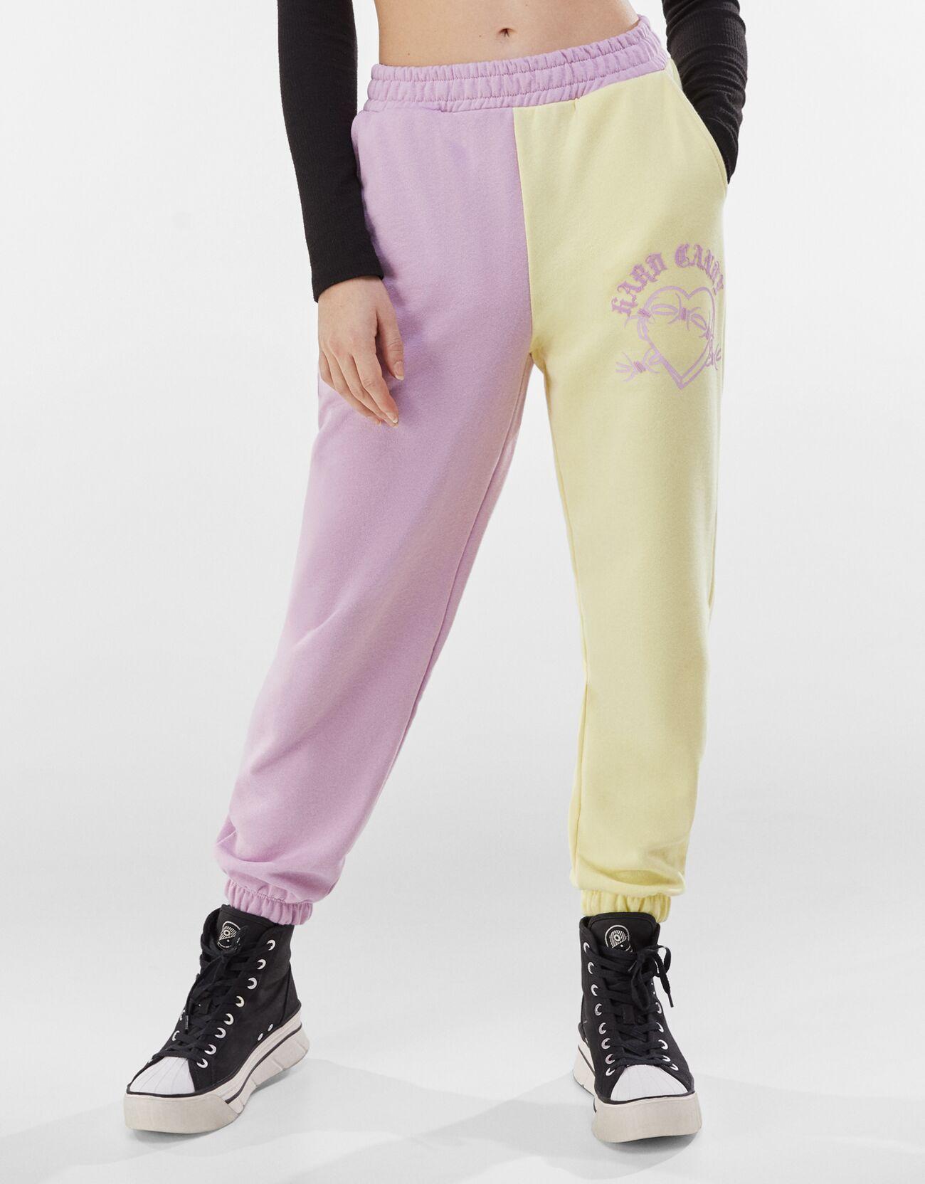 Pantalón jogger felpa contraste