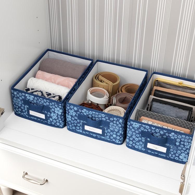 Caja con tapa, azul/blanco25x35x15 cm