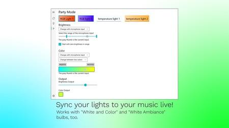 Crean una app para Windows 10, gratis y de código abierto, para controlar las luces Philips Hue y sincronizarlas con la música