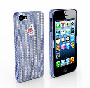 Funda iPhone 5 con pavé de zafiros azules, rubíes y zafiro verde para la manzana más deseada de Apple