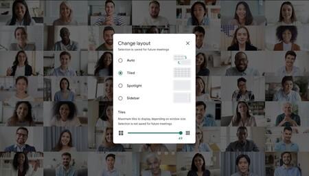 Google Meet ya es capaz de desenfocar el fondo y mostrar a 49 personas a la vez en pantalla