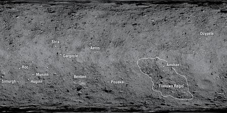 Strix Saxum y otros nombres mitológicos para bautizar la orografía del asteroide Bennu