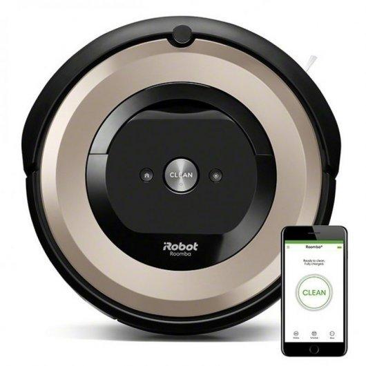 Robot aspirador - iRobot Roomba E6198, 33 W, Autonomía 90 min, 69 dB, WiFi, Dirt Detect, Negro y Marrón