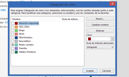 Categorias Outlook