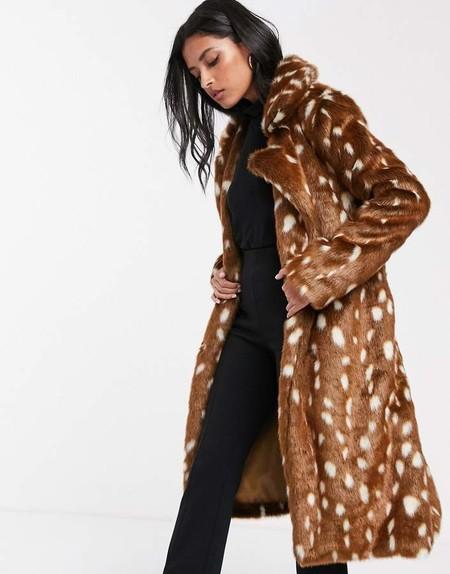 Lost Ink Belted Faux Fur Coat In Spot