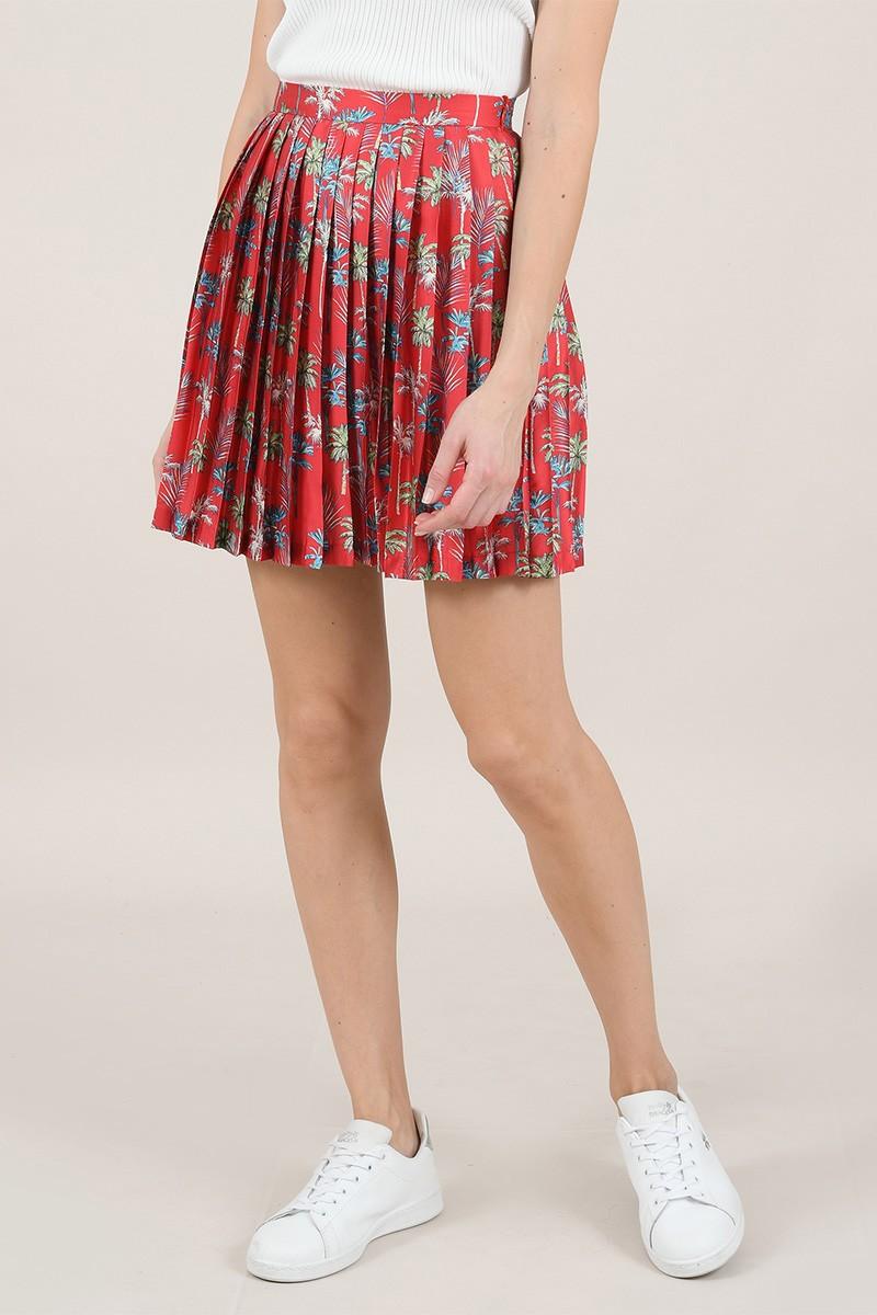 Falda corta y plisada de flores, de tiro alto y cierre de cremallera en el lateral