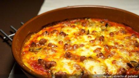 Pizza de longaniza y champiñones. Receta