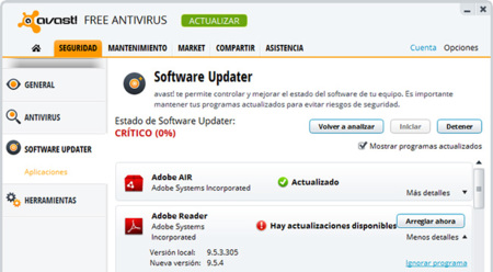 Avast! 8 Software Updater