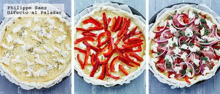 Tarta salada de pimientos y jamón serrano. Receta fácil y rápida