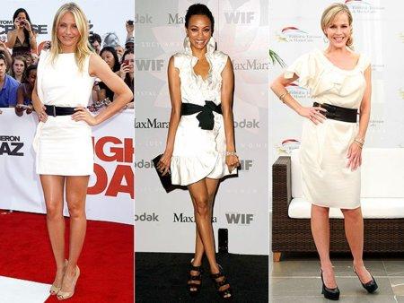 Truco de estilo: anuda una cinta negra a tu vestido blanco