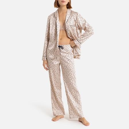 Pijama De Saten Con Estampado De Lunares