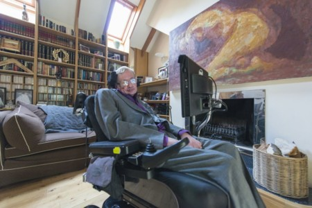 Hawking In His Library At Home