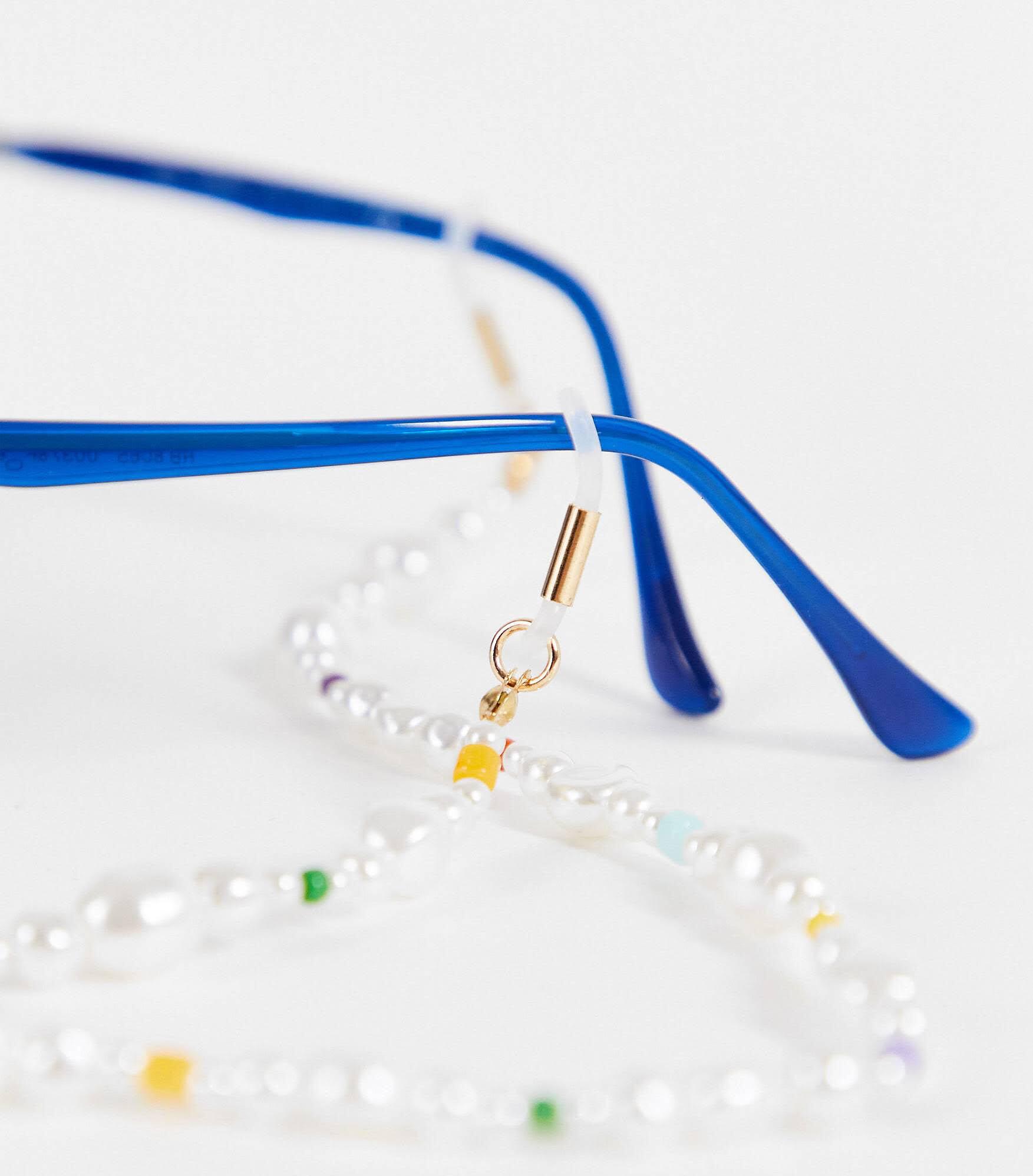 Cadena para gafas de sol unisex con perlas y cuentas multicolores de Reclaimed Vintage Inspired