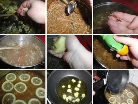 Preparación del guiso de lentejas al limón