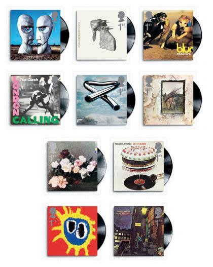 Sellos de correos que reproducen portadas de discos