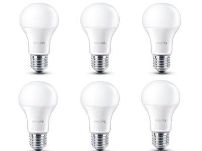 Pack de 6 bombillas LED Philips E27, de 6W y 2700 K, por 15,40 euros (2,56 euros/unidad)