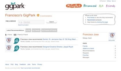 GigPark, red social de recomendaciones de profesionales