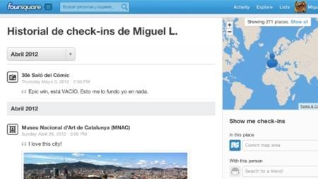 Foursquare estrena los historiales de check-ins de sus usuarios