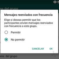 WhatsApp para Android permitirá evitar el envío de mensajes reenviados con frecuencia en los grupos