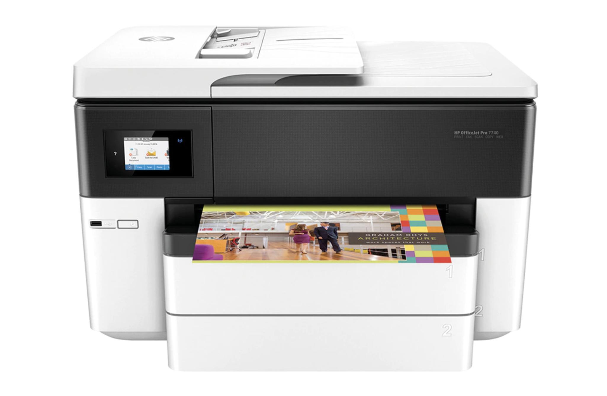 Impresora Multifunción tinta HP OfficeJet Pro 7740, Wi-Fi, copia, escanea, envía fax, impresión hasta tamaño A3
