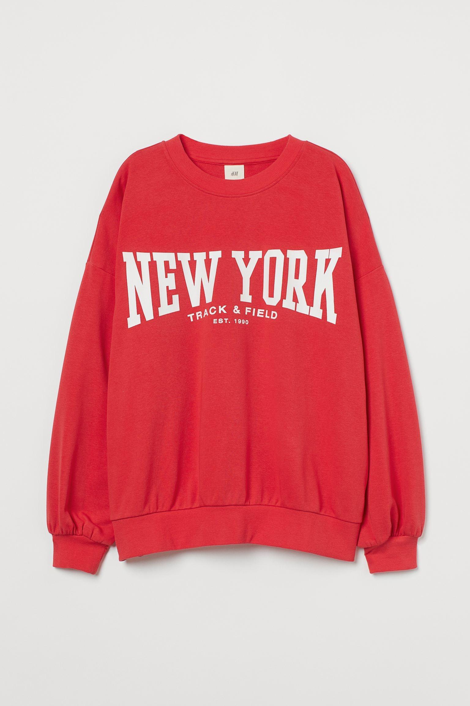 Sudadera en rojo vivo con logo New York de H&M