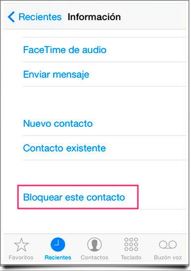 Bloquear Contacto Iphone