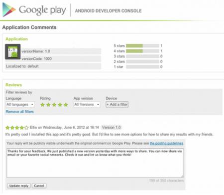 Google permite a los desarrolladores comentar reviews en el Play Store