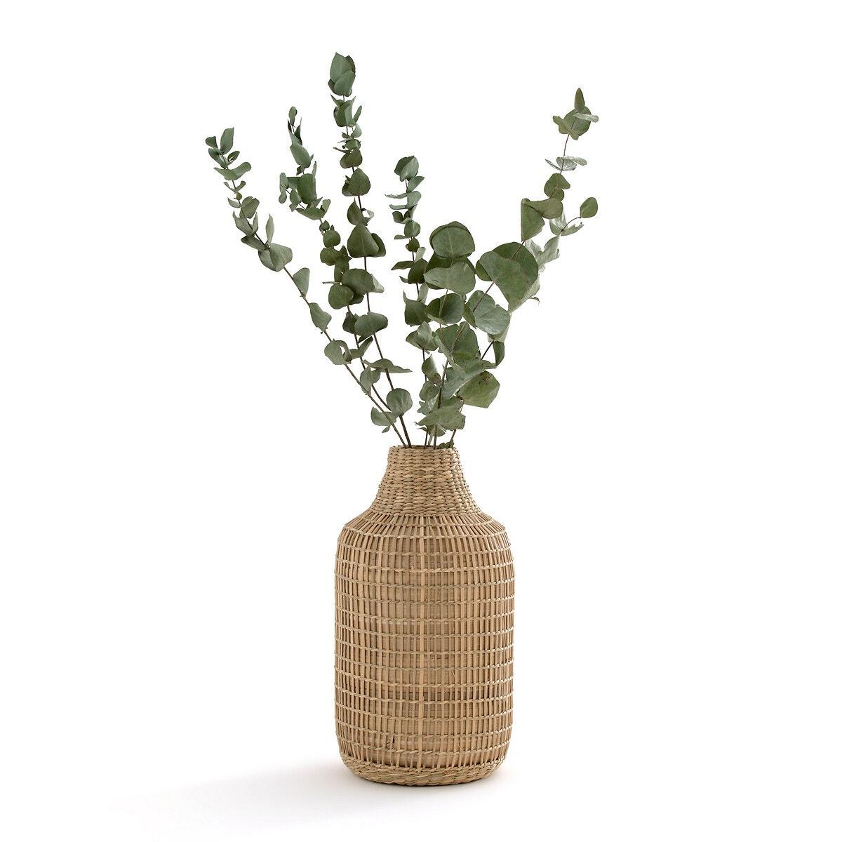 Jarrón decorativo de bambú trenzado natural