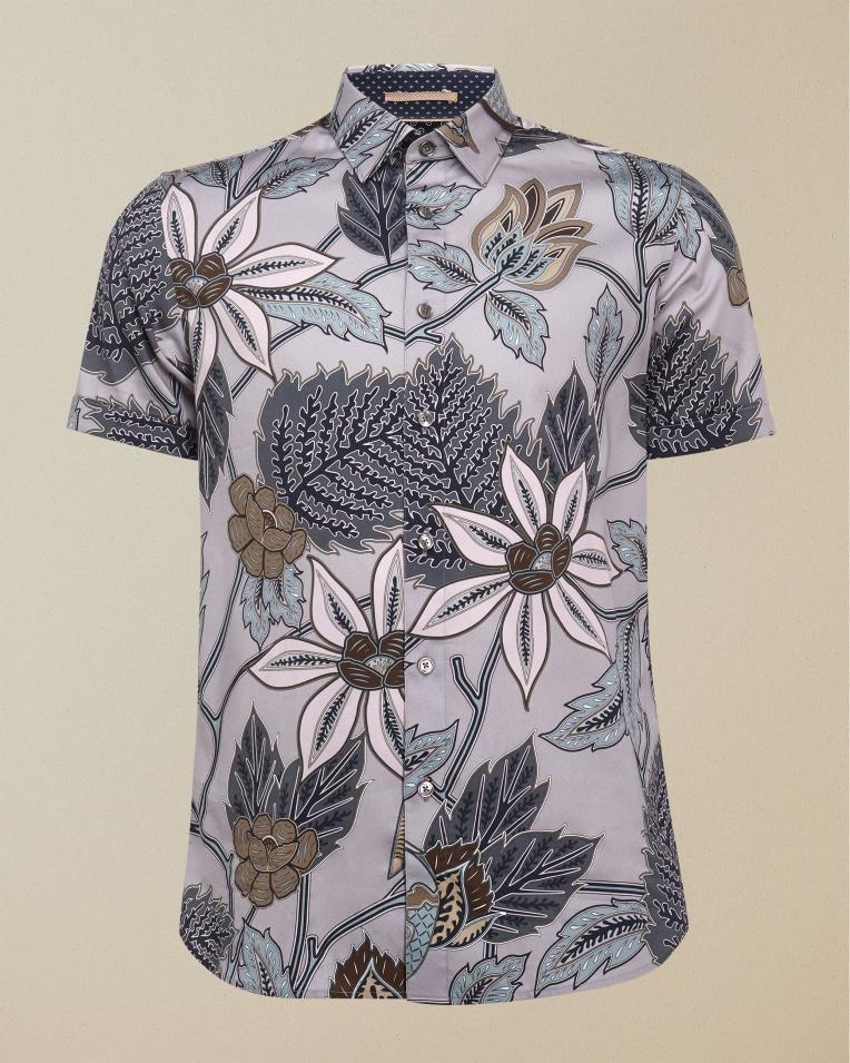 Camisa manga corta con print botánico color neutro