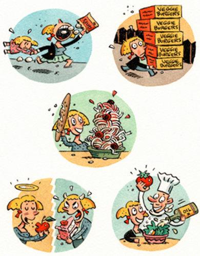 Errores frecuentes en nuestra dieta, mostradas con humor