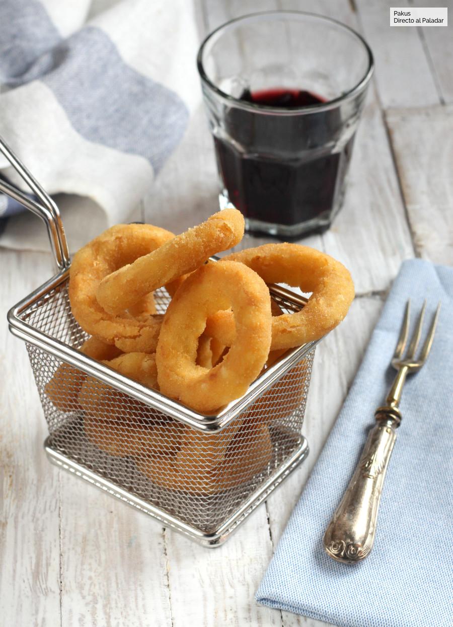 Aros de cebolla caseros, receta de aperitivo