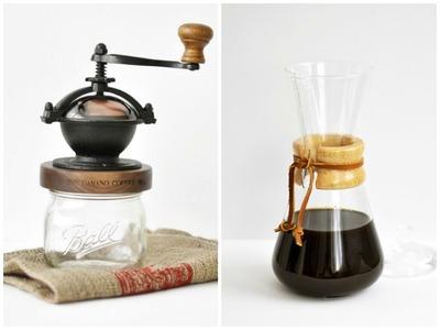 Molinillo y cafetera para un café retro