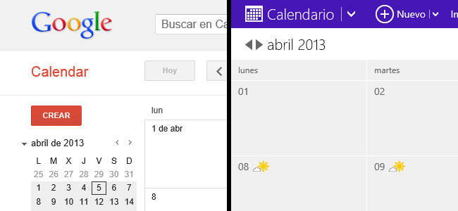 Del calendario de Google al de Outlook.com
