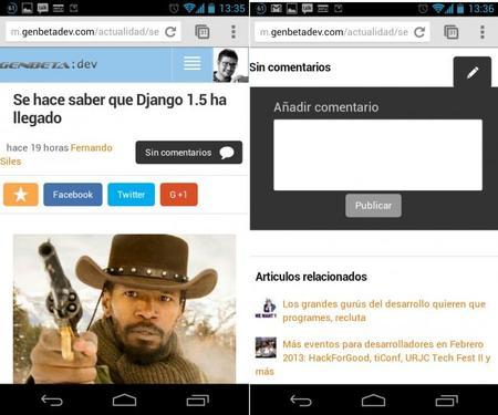 Nueva versión móvil de Genbeta Dev, mejora en la lectura y posibilidad de comentar directamente