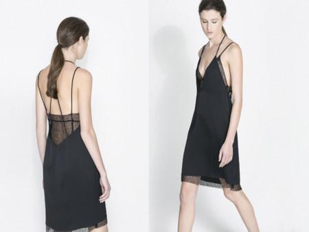 Vestidos lenceros tendencia Navidad 2013 espalda abierta encaje Zara negro