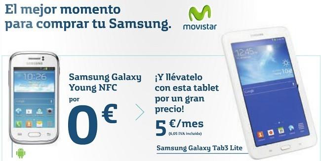Precios pack Galaxy Young + Galaxy Tab3 Lite con tarifas Movistar