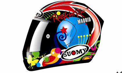 Fonsi Nieto decora su casco para Misano con los colores de Rock in Rio