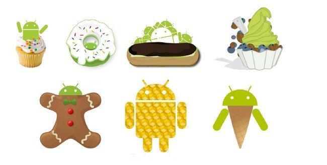 Logos de las versiones de Android
