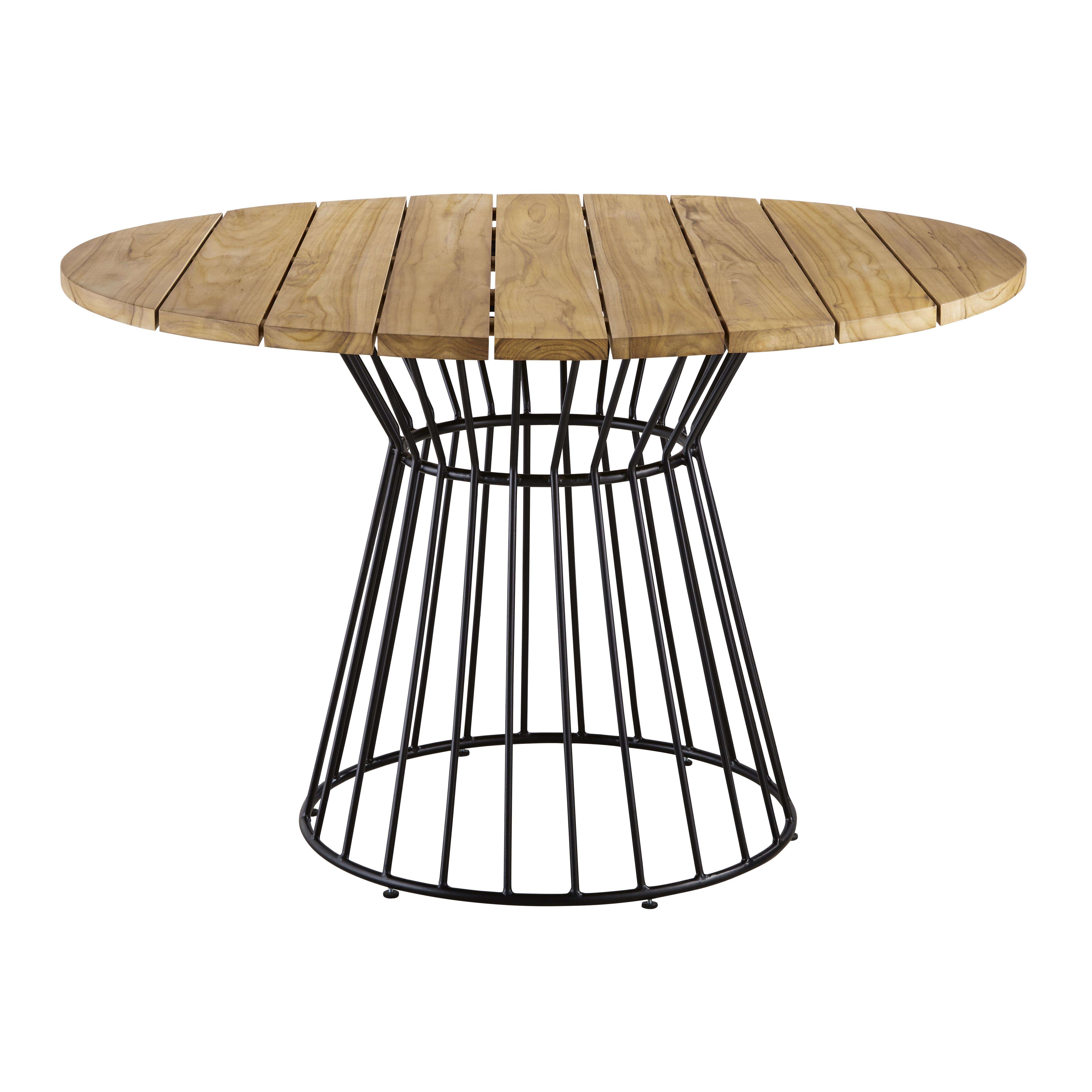 Mesa de jardín redonda de teca maciza para 4 personas