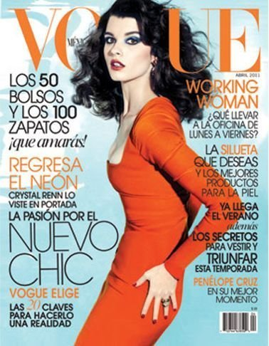 La delgada línea naranja de Crystal Renn en Vogue Méjico