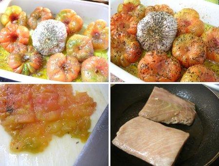 Preparación de la ventresca con tomate