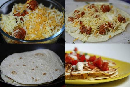 Hacer quesadilla de chorizo y queso