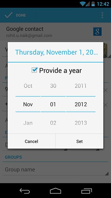 2012 acaba este mes: Un bug elimina el mes de Diciembre de la aplicación Contactos de Android 4.2